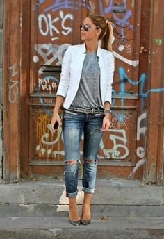 classy work outfit with white blazer rippe jeans and grey top chic business casual
