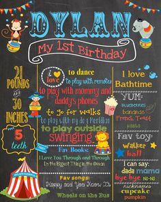 First Birthday Chalkboard Circus theme by PinknPurplePress on Etsy, $25.00