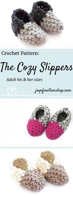 The Cozy Slippers - unisex slippers crochet pattern. Slippers crochet pattern for men