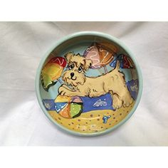"Dog Bowl, 8"" Wheaten Terrier Dog Bowl for Food or Water. Personalized at no Charge. Signed by Artist, Debby Carman. @@ For you to view further for this item, visit the image link. (This is an affiliate link and I receive a commission for the sales)"