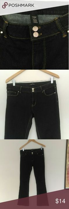 """🚨SALE🚨 WHBM Skinny Flare Jeans Dark wash skinny flare jeans. All the pockets are detailed with rhinestones and the fly has two really pretty silver buttons. These jeans are really nice. There is a tiny little snag on the back belt loop where the tag was removed. You can see it in the last photo.   These are 6 Short and the inseam is 31"""" If these don't sell this week I am removing them and giving them to a friend. White House Black Market Jeans"""