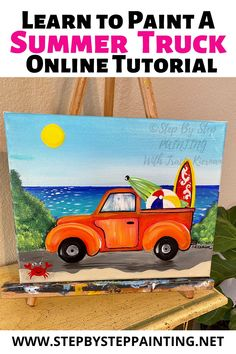 Summer Truck Painting Painting Lessons, Diy Painting, Art Lessons, Painting & Drawing, Beginner Painting, Painting Tutorials, Painting Patterns, Sketching Techniques, Learning Techniques