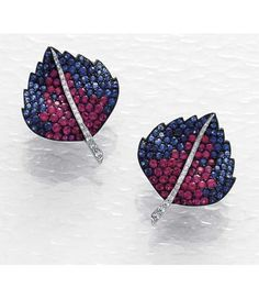 Carnet A Pair of Ruby and Blue Sapphire Earrings