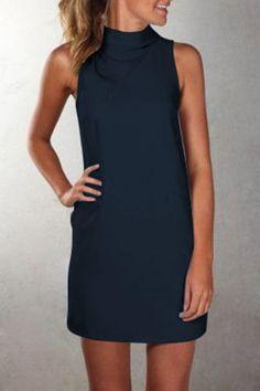 Plus Size Pure Color O-neck Sleeveless Short Dress