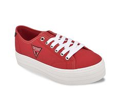 Guess-Buddi Platform Sneaker Stay right on trend in the Buddi platform sneaker from Guess. This pair features a logo accent and flatform midsole for modern appeal. Guess Shoes, Kids Sneakers, Platform Sneakers, Women's Accessories, Pairs, Rowan, Sandals, Boots, Red