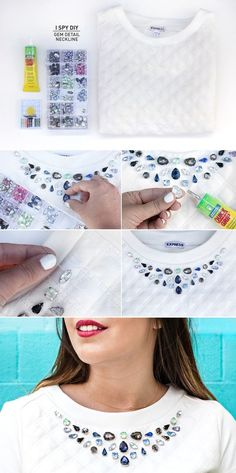 How to make beautiful DIY gem detail neckline step by step tutorial instructions Diy Clothes Refashion, Diy Clothing, Alter Pullover, Diy Fashion Projects, Diy Projects, I Spy Diy, Diy Kleidung, Diy Vetement, Do It Yourself Fashion