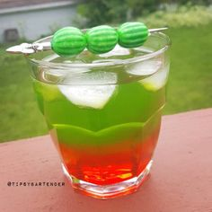 Upside Down Watermelon Cocktail - For more delicious recipes and drinks, visit us here: www.tipsybartender.com