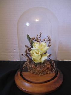 Vintage Bell Jar Yellow Roses Wood Base Cloche Display Terrarium Glass Dome Case #Unbranded