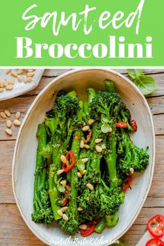 Sauteed Broccolini made with basil pesto fresh chilli and crunchy pine nuts A super delicious and healthy vegetable side dish ready in no time Italian sides broccoli recipes tenderstem broccoli Veggie Side Dishes, Healthy Side Dishes, Side Dish Recipes, Healthy Sides, Dinner Recipes, Broccoli Recipes Side Dish Healthy, Side Dishes For Lasagna, Veggie Recipes Sides, Steamed Broccoli Recipes