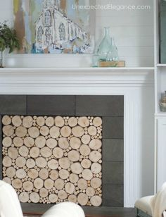 Faux Stacked Wood DIY Fireplace Insert  #DIY #fireplaceinsert #easy #hotglue #woodcrafts