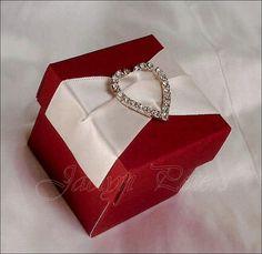 Elegant #Red With Rhinestone #Heart Buckle, #WeddingFavors Box, Candy Holder