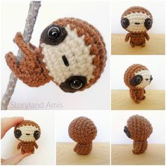 Crochet Amigurumi Design Storyland Amis-Free amigurumi crochet pattern-baby - NOTE: You can buy an ad-free beautifully formatted and concise version (only 7 pages long) of this pattern on my Et Crochet Diy, Crochet Kawaii, Crochet Sloth, Crochet Motifs, Crochet Gifts, Crochet Dolls, Scarf Crochet, Crochet Animal Patterns, Stuffed Animal Patterns