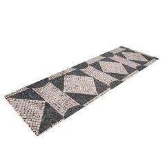 "Susan Sanders ""Mosaic"" Beige Black Yoga Mat"