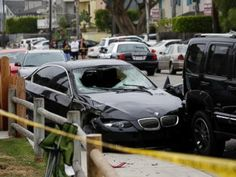 PHOTO: A black BMW sedan driven by a drive-by shooter is seen on Saturday, May 24, 2014, in Isla Vista, Calif.