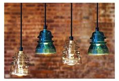 Industrial Pendant Lighting Ideas | ... comes in either clear or aqua blue glass; $400 at Reclaimed Lighting