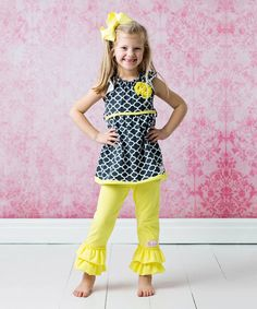 Love this Yellow & Gray Quatrefoil Ruffle Top Set - Infant, Toddler & Girls by FlowerSak on #zulily! #zulilyfinds