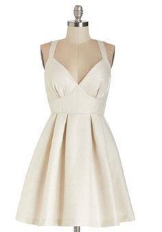 Are You Gonna Be My Pearl? Dress - Solid, Cutout, Pleats, Party, Homecoming, A-line, Sleeveless, Woven, Better, V Neck, Short, Silver, Cream, Girls Night Out