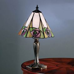 Shop for small Tiffany table lamps from the Lighting Company. Ingram Art Nouveau Tiffany lamp with pink Mackintosh rose on cream background. Table Lamp Base, Lamp Bases, Tv Wand, Tiffany Table Lamps, Tiffany Art, Table Lamps For Bedroom, Stained Glass Lamps, Bedside Lamp, Desk Lamp