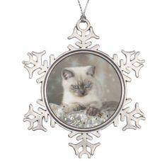 XMAS Cats Snowflake Pewter Christmas Ornament - home decor design art diy cyo custom