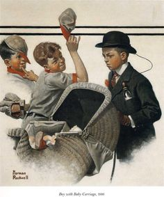 Boy with Baby Carriage, 1916 - Norman Rockwell - WikiArt.org