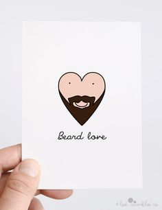 Valentine Card  Anniversary Card  Beard by LostMarblesCo on Etsy, £2.75