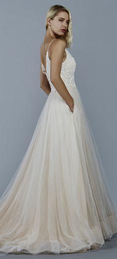 Dawn wedding dress by Kelly Faetanini in Blush // V neck ball gown ...