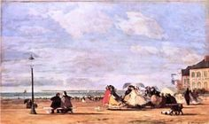 """Empress Eugenie on the beach at Trouville"" - Eugene Boudin (1863, France)"