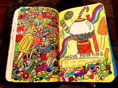 likechildreninafairytale:  ♦ Welcome to my Wreck This Journal: 18/? ↳ Tongue painting. 1. Eat some colourful candy. 2. Lick this page.