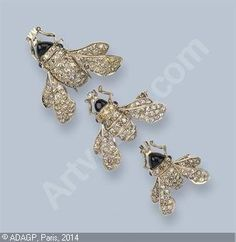 LALIQUE René - BEE BROOCHES, (3)