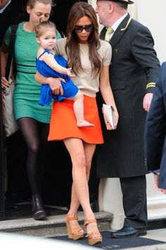 Victoria Beckham ♥ cap sleeves, orange skirt and wedges