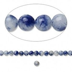 Bead, sodalite (natural), 3mm round. Sold per 16-inch strand. $5.07