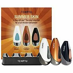Temptu Summer Skin 3-Step AIR Pod Tanning Collection by Temptu. $44.50. Also includes a bonus Temptu 3-pod Air Pod Stand to store and display up to 3 air pods. Created for all skin tones.  Suitable for all skin types.  Dermatologist Approved.. Temptu Summer Skin 3-Step Air Pod Tanning Collection for a Sun-Kissed Complexion. Includes:  Air Pod Tan Prep, Air Pod Face Tan, Air Pod Bronzer. Achieve an even, natural-looking tan and radiantly bronzed skin in just three simple steps.  T...