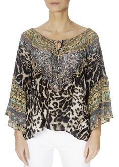 This is the 'Siberia' Boho Leopard Print Embellished Top by the ever-stunning brand, Inoa! Ladies Tops, Embellished Top, Loose Tops, Warm Weather, Knitwear, Boho, Lady, Sleeves, Clothing