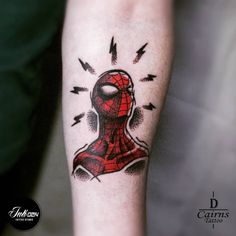 David had lots of fun tattooing this Spiderman design he he did f. Marvel Tattoo Sleeve, Marvel Tattoos, Star Tattoos, Mini Tattoos, Leg Tattoos, Body Art Tattoos, Tattoos For Guys, Sleeve Tattoos, Tattoos Skull