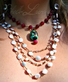 I love the handwired white coin pearls paired with the pop of pink quartz, and Turquoise