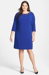 Your Go-to-Dress for work Tahari Double Woven Shift Dress with Necklace Detail (Plus Size)