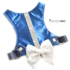 Tuxedo Dog Harness Vest with Crystal Trim and Pearl Bow in 6 colors Leather Harness, Dog Harness, Blue Tuxedos, Dog Pattern, How To Make Notes, Pearl Beads, Bows, Fancy, Pearls
