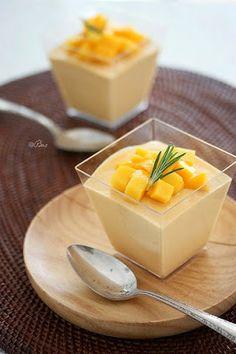 MANGO PUDDING - 4 cups sliced mangos, 1 1/2 cups sugar, 1/2 tsp cinnamon, 1/4 tsp allspice, 1 cup cup flour, 1 tsp baki...