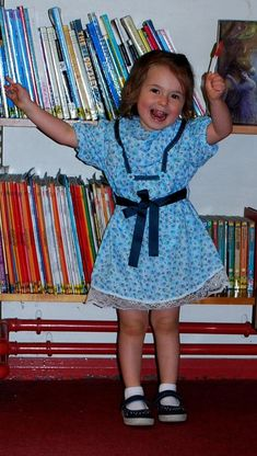 Blue toddler dress with lace and belt flower print cotton