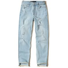 Hollister High-Rise Slim Boyfriend Jeans (390 ARS) ❤ liked on Polyvore featuring jeans, pants, bottoms, ripped light wash, relaxed boyfriend jeans, high-waisted boyfriend jeans, high waisted boyfriend jeans, blue ripped jeans and distressed boyfriend jeans