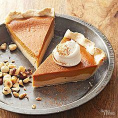 Combine a cheesecake-like layer of dulce de leche with classic pumpkin pie filling and a nutty hazelnut crust for a seriously delicious dessert.