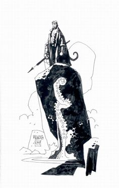 Mike Mignola's sketchbook pages from the Hellboy: The Right Hand of Doom trade [post hellboyfansinhell Mike Mignola Art, Comic Book Artists, Comic Artist, Comic Books Art, Bd Comics, Sketchbook Pages, Character Modeling, Art Graphique, Cultura Pop
