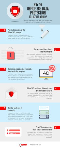 Check out the infographic containing a list of the top six reasons why your data is more secure in office 365. For more information about office 365: http://spusht.co/cloud/microsoft-cloud/