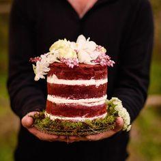 Our mini red velvet naked cake ~ topped with fresh bloom decor by lovely Anna…