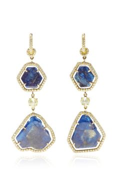 One Of A Kind Star Sapphire And Diamond Earrings by Nina Runsdorf for Preorder on Moda Operandi