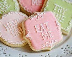 Alice in Wonderland Inspired Cookies- 1 Dozen Eat Me Plaque/Frame Cookie Favor, Baby Shower, Birthday Cookies
