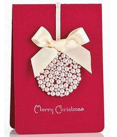 pearl and ribbon Christmas card. I love this. I am so going to make this this Christmas