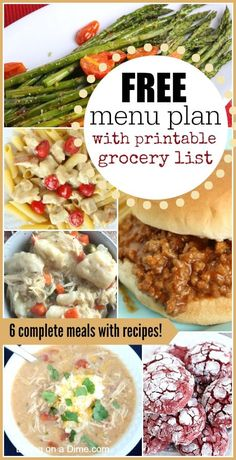 FREE Menu plan with 6 complete meals complete with recipes and printable shopping list.