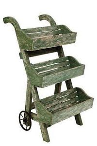 potted plant stands and racks   ... Decorative 3 tier garden planter on wheels, plant rack, flower stand