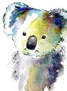 KOALA Bear Watercolor Art Print Bear Wall Art by PamelaHarnoisArt